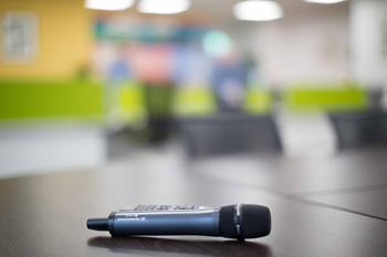 Wireless microphone on conference table in Kilrush Digital Hub